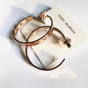 Tory Burch Rose Gold T-pierced Logo Hoop Earring